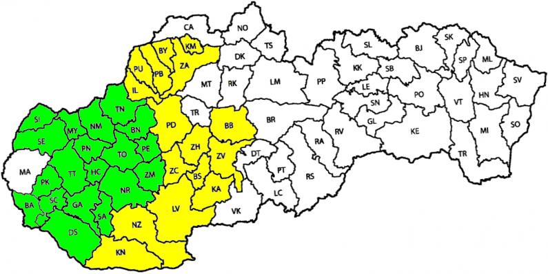 Tarifné pásma 2 tarify - mapa